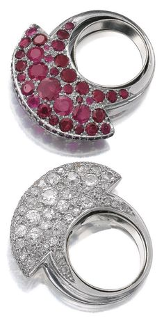 Art Deco ruby and diamond rings, 1930s. Each ring of bombé hammerhead design, respectively set with circular-cut rubies and diamonds.