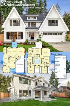 Architectural Designs Modern Farmhouse Plan 23689JD gives you 5 beds, a circular rotunda AND a ton of room (~5,000 sq. ft.) of heated living space including the bonus room. Ready when you are. Where do YOU want to build?