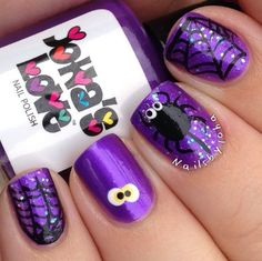 Top 100 Most-Creative Acrylic Nail Art Designs and Tutorials - Nails - halloween nails Halloween Nail Designs, Halloween Nail Art, Purple Halloween, Halloween Spider, Halloween Halloween, Square Nail Designs, Nail Art Designs, Cute Nails, Pretty Nails