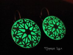 Glow in the Dark Earrings...I can see making an outfit around them!  Green Glow in the Dark Antiqued Brass Filigree by MoniqueLula, $28.00