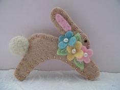 Primitive Easter Bunny Brooch Felt Pin Flowers Pastel Beaded