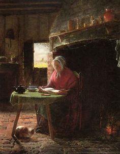 Frederick Daniel HARDY (1827-1911): Reading by the Fire, 1857. Hardy was een Engels schilder van genrestukken, lid van de Cranbrook Colony.