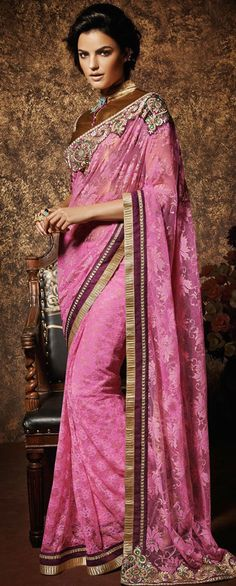 USD 68.74 Pink Rachal Net Party Wear Saree 42969
