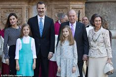 King Felipe VI of Spain (second from left), his wife Queen Letizia (far left), their daugh...
