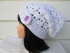 Ready to ship  Cutest Slouch beanie is Great accessory for any time of the year, Dressy and elegant in White  Knit hat Fits a full size adult head.