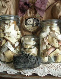 Old jars of baby shoes...
