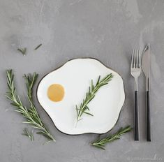 "Plate ""Fried egg"" - yellow, white, kitchen, china, porcelain"