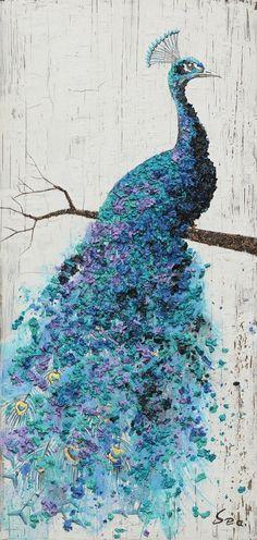 Original 28W x 48H Blue & White Peacock by HandmadePieceGallery