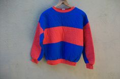 Vintage 1980's Quilted Puffy Pullover // 80's Sweatshirt // M