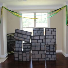 Demolition Wall, Construction Theme Birthday Party need a wrecking ball! Construction Birthday Parties, 3rd Birthday Parties, Birthday Bash, Construction Party Games, Birthday Ideas, Digger Party, Minecraft Party, Diy, Construction Business