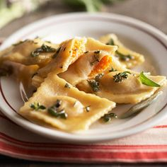 butternut squash ravioli with browned butter sauce.