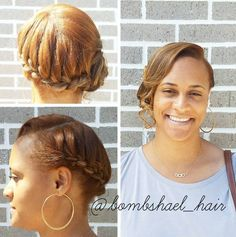 Elegant Chignon with a Twist One of our favorite cute natural hairstyles for formal events is the chignon. Simple hairstyles are often the best, as is the case with this wedding chignon that is sure to look classy on wedding photos even in 50 years. Cute Natural Hairstyles, Natural Hair Updo, Braided Hairstyles For Wedding, Twist Hairstyles, Braided Updo, Prom Hairstyles, Hairstyles Videos, Updo Hairstyle, Wedding Updo