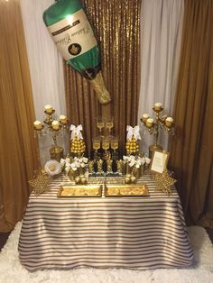 A fabulous backdrop tat this champagne party! See more party ideas at CatchMyParty.com