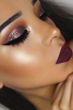 Glam glitter. Purple and gold flake glitter with a dark Siena crease
