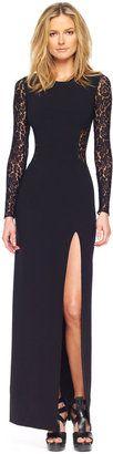ShopStyle: Michael Kors Lace Inset Side-Slit Gown
