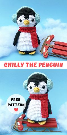 The free amigurumi crochet pattern I'm sharing with you here today is little Chilly the Penguin. Chilly would make a perfect stocking stuffer or new friend for someone to cuddle. I hope you enjoy it! Crochet Amigurumi Free Patterns, Christmas Crochet Patterns, Crochet Animal Patterns, Stuffed Animal Patterns, Crochet Dolls, Ravelry Crochet, Scarf Patterns, Knitted Dolls, Crochet Penguin