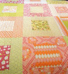 Baby Quilt Handmade-Cotton Quilt-Baby Quilt-Baby Girl Quilt-Block Quilt-Pink Quilt-Pink Nursery Bedding-Pink Nursery Decor-Baby Shower Gift