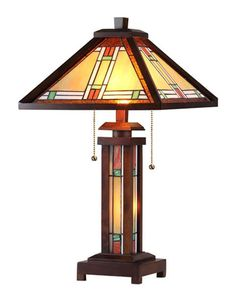 Chloe Lighting Alexander Tiffany-Style Mission Double Lit Wooden Table Lamp with 15 inch Shade, Multicolor Stained Glass Table Lamps, Wooden Table Lamps, Lamp Table, Wooden Console, Console Table, Desk Lamp, Light Table, Lamp Light, Tiffany Style Table Lamps