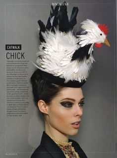 Always wanted a chicken head piece lol Chicken Hats, Love Hat, Head Piece, Many Faces, Hat Hairstyles, Vintage Magazines, Girl With Hat, Material Girls, Photojournalism