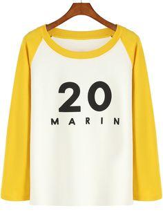 Colour-block Round Neck 20 Letters Print Sweatshirt