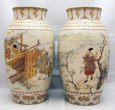 Japanese Pair of Satsuma Vases by Nimura