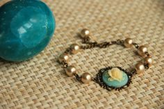 Bracelet Yellow rose cabochon with ivory colored by HirasuGaleri, $21.00