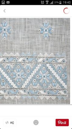 Beautiful piece of hardanger and pulled thread in white and blue