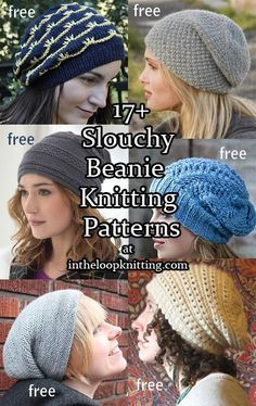 Knitting patterns for Slouchy Beanie Hats, most are free patterns