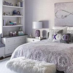 Teen Girl Bedrooms - A sweet and exciting resource on teenage girl room help. Essential have charming article reference 5868915160 Purple Bedroom Design, Purple Bedrooms, Girl Bedroom Designs, Teen Girl Bedrooms, Room Ideas Bedroom, Bedroom Decor, Bedroom Ideas Purple, Lavender Bedrooms, Purple Gray Bedroom