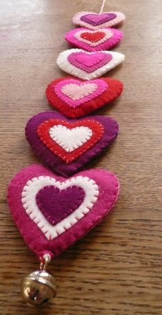 Pink felt hearts wall hanging XL made to order by HetBovenhuis Valentine Day Crafts, Valentine Decorations, Valentine Heart, Christmas Crafts, Heart Garland, Felt Patterns, Felt Fabric, Felt Hearts, Felt Ornaments