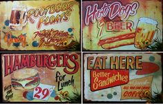 Retro diner food signs