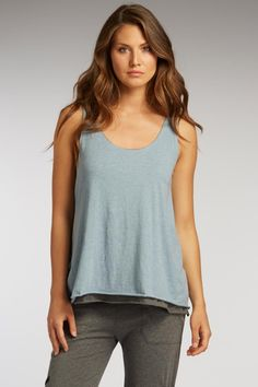 Double layer tank for women in light blue and gray organic cotton