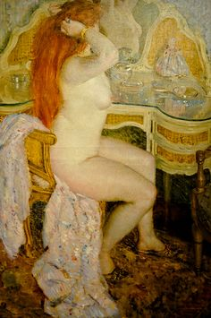 Frederick Carl Frieseke - Hude Seated at Her Dressing Table, 1909 at American Art Museum Washington DC