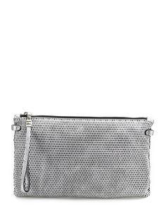 GIANNI CHIARINI - Borse - Accessori - Pochette in pelle martellata laminata con chiusura a zip. Decorazioni silver, misure 29 x 18 cm. - SILVER - € 69.00