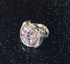 Pink Crackled Wire Wrapped Ring by WireWizardz on Etsy