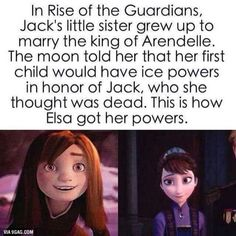 Woah<<< Cool theory, but totally not true. Jack, when he was still completely alive, lived in post-revoloutinary America, while Elsa and Anna lived in about the 1500's in Switzerland, so that would be highly unlikely.