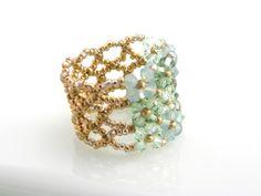 Swarovski bead woven ring