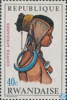Postage Stamps - Rwanda - African headdresses