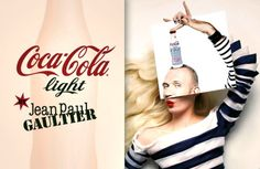 """After the collaboration with Karl Lagerfeld and Sonia Rykiel, Coca Cola teamed up with """"L'enfant terrible"""" / I go more for """"L'enfant adorable"""" Jean Paul Gaultier. Creating two bottles one for day (blue marine stripes) and one for the night (black corset). Coca Cola Poster, Coca Cola Ad, Jean Paul Gaultier, Coca Cola Light, Attitude Is Everything, Light Jeans, Black Corset, Fashion Art, Fashion Design"""