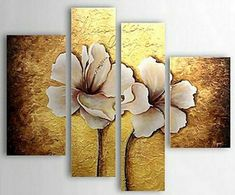 Home Decor - Wall Art - Oil Paintings - Floral Paintings - Hand-painted Floral Oil Painting with Stretched Frame - Set of 4 Oil Painting Flowers, Texture Painting, Art Floral, Mural Art, Art Pictures, Flower Art, Canvas Wall Art, Modern Paintings, Oil Paintings