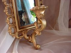 Hollywood Regency Vintage Homco Candle Wall Sconce Gold-tone w Smoky Mirror