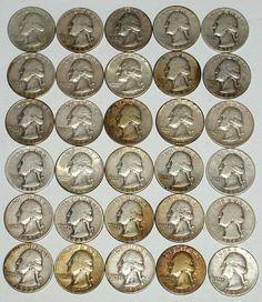 Washington 90% Silver Quarters 30 Coin Lot 1935-1964