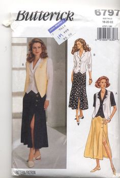 Butterick 6797 Ladies Vest Top and skirt sewing by KnitsanStitches, $3.00