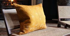 Heavy Linen Falling Flower Cushion in Full Field Mustard Yellow, 50cm – Summerill & Bishop Handmade Cushions, Cushion Pads, Natural Linen, Soft Furnishings, Mustard Yellow, Color Pop, Throw Pillows, Flower, Toss Pillows