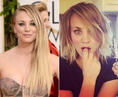 "It looks like Kaley Cuoco is undergoing an extreme makeover! The ""Big Bang Theory"" star chopped off her trademark blond locks for a short 'do just a week after revealing her new back tattoo -- Roman numerals of her wedding date. The 28-year-old actress took to Instagram to show before and after snaps of her newest transformation on March 29, 2014."
