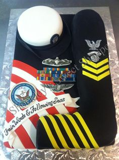 Navy Retirement Cake at Shockley's Sweet Shoppe. Great idea for when the time comes for Wodey to retire.