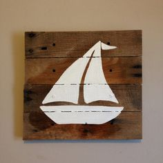 Sailboat14x14silhouettepallet artrustic wall by RusticTreeHouse