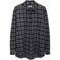 6397 Plaid Popover ($130) ❤ liked on Polyvore featuring tops, shirts, flannels, blouses, black white plaid shirt, long sleeve shirts, loose tops, plaid top and loose shirts