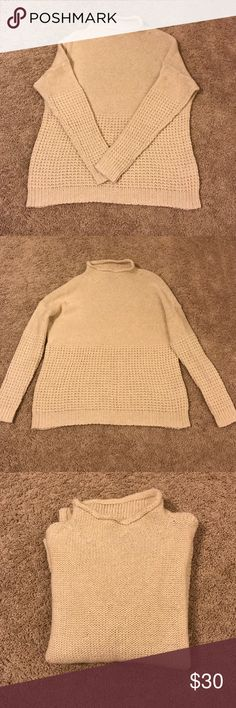 Oversized cream sweater Adorable oversized sweater. Cream colored. Worn once. Size large but fits more as an oversized medium. Meant to look big. Super comfy. American Eagle Outfitters Sweaters Cowl & Turtlenecks