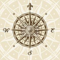 Sticker vintage compass rose - ornate - star • PIXERSIZE.com